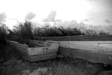 Discarded boats on seawall
